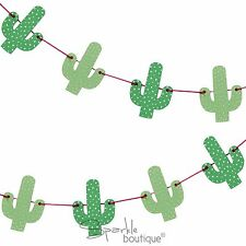 WOODEN CACTUS BUNTING - Summer Party Garland/Tropical Hanging Decoration/Banner