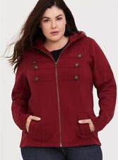 Torrid Military Jacket Coat Maroon Red Zipper Hooded Pockets Plus Size 1 14 / 16