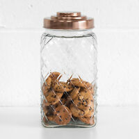 3.4L Glass Storage Jar Copper Lid Cookie Biscuit Barrel Flour Sweets Rice Pasta