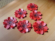 10 3d LARGE PEARLESCENT RED POPPY FLOWER REMEMBERANCE HANDMADE TABLE CONFETTI