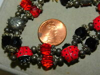 Double Sided Silver Red Enamel Ladybug Black bead Stretch Bracelet  3k 63
