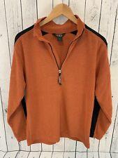 L.L. Bean 1/4 Zip Fleece Pullover Jacket Lightweight Men's Size Small Orange