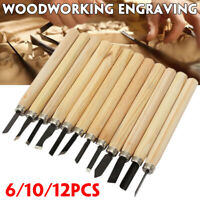 6/10/12pcs Wood Carving  Hand Chisel Gouges Set Kit DIY Woodworking  U D E