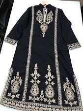 Bareeze Chinyere brodé noir Kameez Abaya Hijab Robe Tunique Medium 12