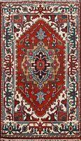 Geometric RUST/IVORY Heriz Serapi Oriental Area Rug Hand-Knotted Wool 3x4 ft