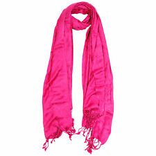 Hot Pink Jacquard Style Embroidered Rectangle Women's Hijab Scarf with Tassles