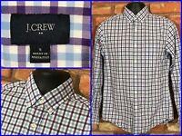 J.CREW Blue Purple Check L/S Btn Down Recent Dress Shirt For Work Mens Sm SLIM