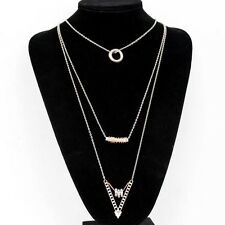 LADIES SILVRE GOLD CIRCLE TRIANGLE CYLINDER PENDANT TRIPLES STRANDS NECKLACE UK