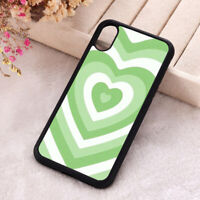 Green Heart Phone Case iPhone X 11 12 Mini Pro Love Hippie Soft Silicone Cover