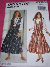 🌸BUTTERICK #6780 - LADIES TIERED RODEO-WESTERN SKIRT-VEST & TOP PATTERN 6-12 FF