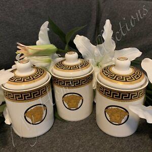 Set of 3 Canister Set Ceramic Tea Coffee Sugar Versace Medusa BlackGold Airtight