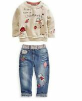 2pcs kids Baby Casual Girls Tops +Jeans Denim Pants Set Outfits Spring Autumn Cl