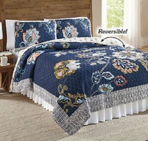 Modern Country Bed Quilt Full Queen Reversible Cotton Polyester Soft Bed Cover