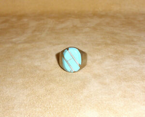 Mens or Womens Sterling Silver Oval Turquoise Ring - Size 11