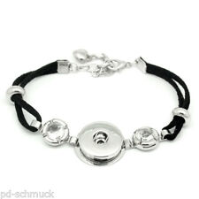 1 Schwarz Polyester Charm Armband mit Strass Passt Druckknopf 20cm lang
