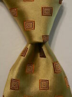 HUGO BOSS Men's Silk Necktie ITALY Luxury Designer Geometric Yellow/Orange EUC