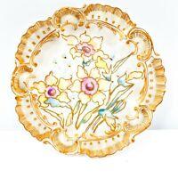 Limoges Plate AL France Floral w/ Gold Trim Porcelain Hand Painted Fluted