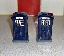Blue Police Telephone Box (Tardis Style) Salt and Pepper Pots. Rare Wrongly Mark