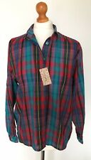 Vintage Red Blue Check Shirt -SIZE MEDIUM- 90s Retro Tie Up Blouse Oversized VTG