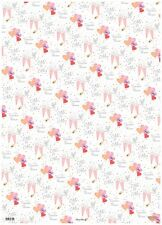 2 Sheets Of Pink Orange Red Mr & Mrs Wedding Day Gift Wrapping Paper & 1 Tag