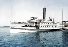 "1900-1910 Steamer Vermont, Lake Champlain Old Photo 13"" x 19"" Reprint Colorized"
