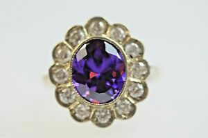 Amethyst Diamond Large Antique Vintage Style Ring Silver Gold Size R