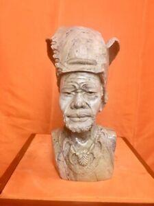 "Butter jade Man Shona stone Bust by Mangenda, ""Warrior"""