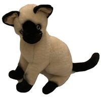 "Aurora Siamese Cat Plush Sitting Lifelike Blue Eyes Stuffed Animal 12"" Rare HTF"
