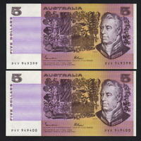 R-209a. (1985) Johnston/Fraser - 5 Dollars. OCRB..  UNC - CONSECUTIVE Pair