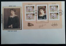 "1986 Jersey Lilies FDC with minisheet & Colorano ""silk"" cachet of Lily Langtry"
