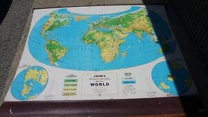 Cram's Simplified Physical Political Pull Down Map of World  64L X 54 W WHEN OUT