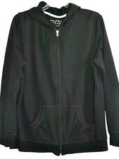 Made for life Women's Jacket Size L Black Cotton Blend Full Zip Hoodie Top New