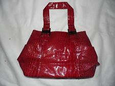 Ladie red faux snake skin large handbag.