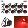 8 PCS 24V 3 LED SIDE REAR TAIL RED MARKER LIGHTS LAMPS TRUCK LORRY TRAILER