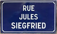 Old blue French enamel street sign road name Jules Siegfried Saint Quentin
