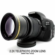 58mm 2.2X Telephoto Zoom Lens for Canon T6i T6s T6 T5i T5 T3i T3 SL1 DSLR Camera