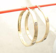 "1 1/2"" Medium Screw Design 2-Tone Round Hoop Earrings REAL 10K Yellow White Gold"