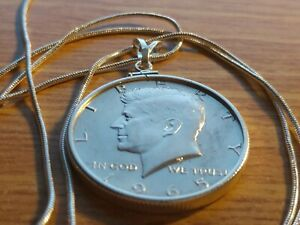 """1965 Silver Kennedy Half Dollar on an 18"""" Classic Sterling Silver Snake Chain"""