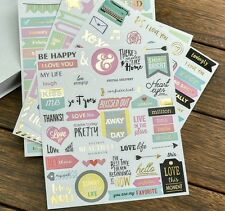 4 x Sheets Scrapbooking Stickers with Gold Foil Accents, DIY, Planner Decoration
