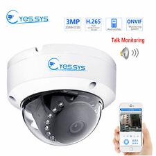 Eyes.sys POE 48V Audio Sound Camera H.265 15IR HD 3MP IP Dome Camera ONVIF RTSP