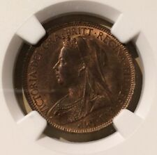 1896 GREAT BRITAIN 1/2 PENNY NGC MS 64 RB - BRONZE - ONLY 5 IN HIGHER GRADES