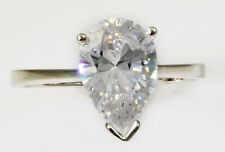 2 ct Pear Ring Vintage Brilliant Top Russian CZ Moissanite Simulant Size 7