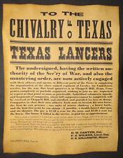 Texas Civil War Recruitment Poster, Chivalry, Confederate, Recruiting, Lancers