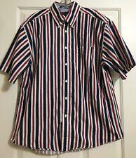 Men's Tommy Hilfiger sz L Red White Blue Striped Short Sleeve Button Down Shirt
