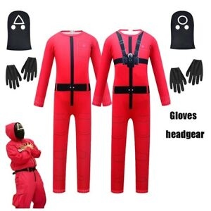Squid Game TV Drama Cosplay Red Jumpsuit for boy girl Halloween Cosplay Costume