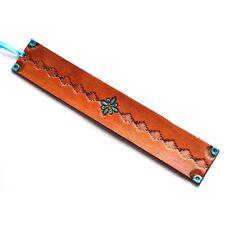 Handmade Leather Bookmark | Turquoise Southwestern Diamond