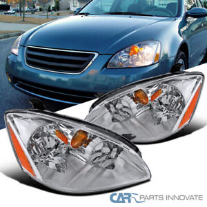 Fit 02-04 Nissan Altima 4Dr Replacement Sedan Clear Headlights Head Lamps Pair