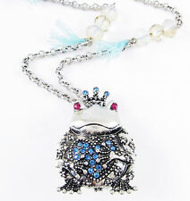 BETSEY JOHNSON 'BJ's Managerie' Princess Frog Locket Silver-Tone Long Necklace