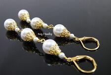 Long Drop Dangle Earrings White Swarovski Pearls Gold Plated