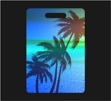 SET OF 2 BLUE PALM TREE TROPICAL SUNSET PERSONALIZED LUGGAGE TAGS